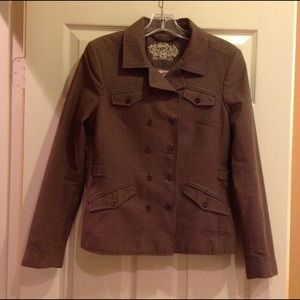 TED BAKER BROWN COTTON DOUBLE BREAST JACKET